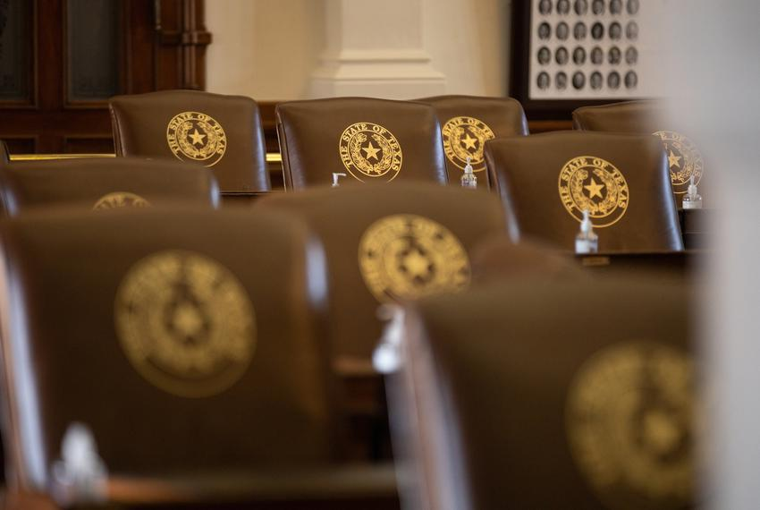 Empty chairs on the House floor on Aug. 23, 2021.