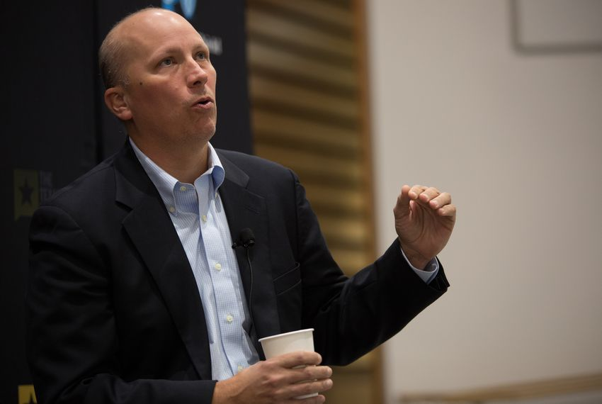 Chip Roy participating in a Texas Tribune event about the potential impact on Texas of the end of the Affordable Care Act on April 24, 2017.