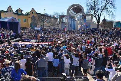 A large crowd gathers at Guadalupe Plaza in San Antonio to hear former Housing and Urban Development Secretary Julián Castro announce his 2020 bid for president on Jan. 12, 2019. Castro served as mayor of San Antonio from 2009 to 2014.