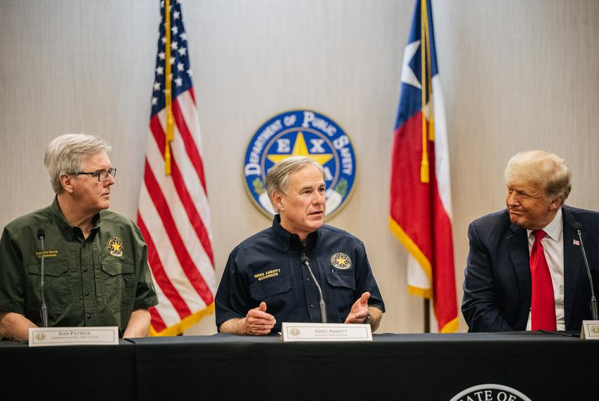 Texas Lt Gov. Dan Patrick, left, Gov. Greg Abbott, and former President Donald Trump attend a border security briefing to di…