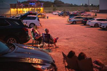 Families attend a fireworks show at Doc's Drive-in Theatre in Buda to celebrate the Fourth of July holiday. July 4, 2020.