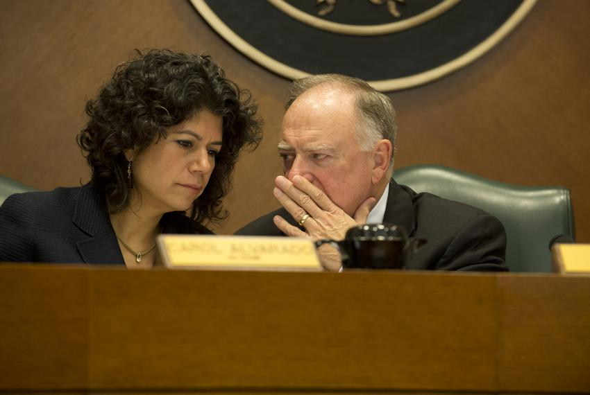 House Committee on Transparency in State Agency Operations co-chairs Rep. Carol Alvarado, D-Houston, and Rep. Dan Flynn, R-C…