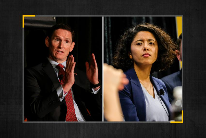 Dallas County Judge Clay Jenkins and Harris County Judge Lina Hidalgo.