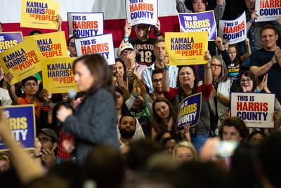 The crowd cheers for Sen. Kamala Harris at a campaign event at Texas Southern University in Houston.