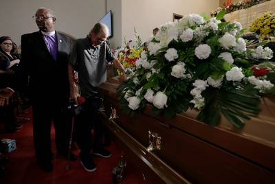 Antonio Basco places his hand on his wife Margie Reckard        s casket during her funeral at La Paz Faith Center in El Paso, Texas Friday, August, 16, 2019. Without much family and friends in town, Basco invited the public to his wife        s funeral and El Paso showed up in droves. His wife was one of the 22 killed in the Walmart mass shooting on August, 3. 5 El Paso Margie Reckard FuneralAntonio Basco places his hand on his wife Margie ReckardaTMs casket during her funeral at La Paz Faith Center in El Paso, Texas Friday, August, 16, 2019. Without much family and friends in town, Basco invited the public to his wifeaTMs funeral and El Paso showed up in droves. His wife was one of the 22 killed in the Walmart mass shooting on August, 3.