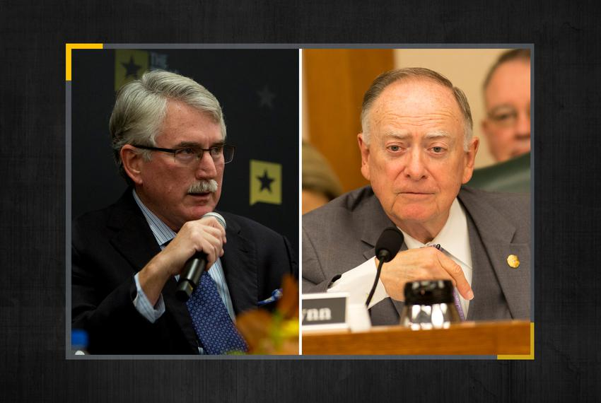From left: State Reps. J.D. Sheffield, R-Gatesville, and Dan Flynn, R-Canton.