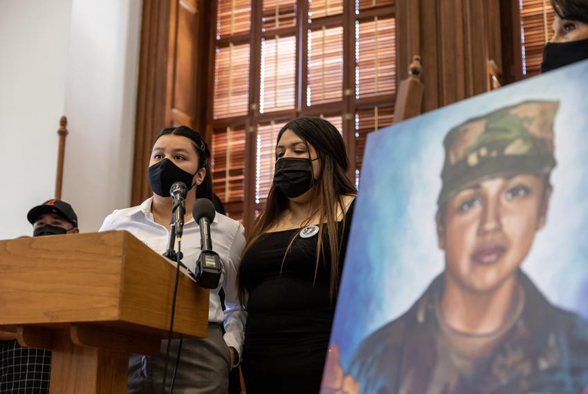 Vanessa Guillen's sisters Lupe Guillen, left, and Mayra Guillen speak at a press conference regarding legislation that would…