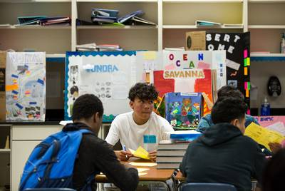 Daniel Saldana, a ninth-grade student at Elsik Ninth Grade Center, looks up during a quiz about biomolecules.