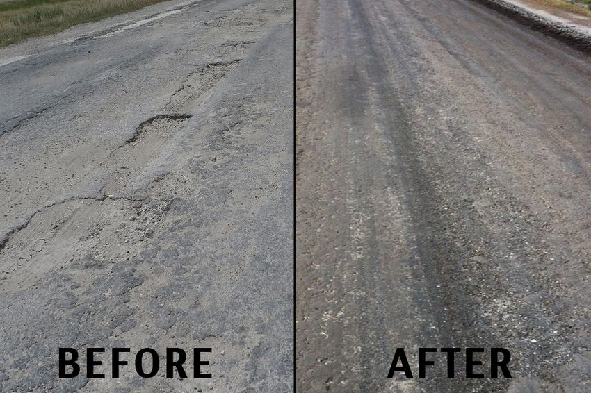 Before and after images of of the frontage road on I-37 in Live Oak County. The Texas Department of Transportation converted the badly-damaged asphalt road to an unpaved road the week of August 19, 2013.