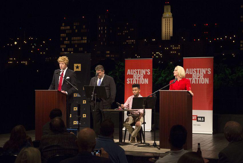Local comedians perform a debate skit in KLRU's Studio 6A on Oct. 19, 2016.
