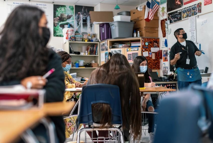 Students work at their desks during a geometry class at Chapa Middle School in Kyle on Aug. 24, 2021.