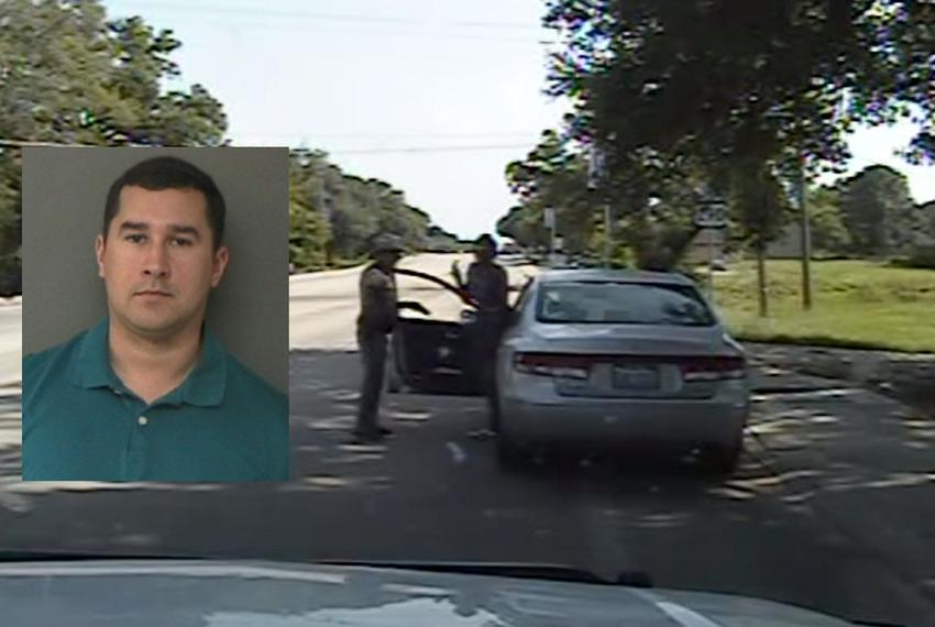 The January 2016 booking photo (left) of Brian Encinia, the DPS trooper who pulled over and arrested Sandra Bland.