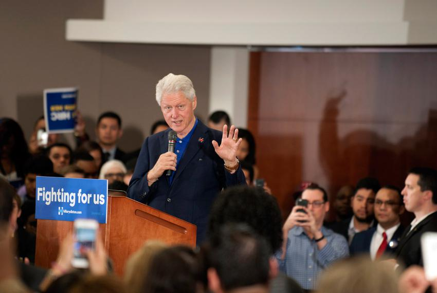 Bill Clinton at a rally held at Fort Worth's Tarrant County College on Feb. 29. Clinton came to Fort Worth to rally for hi...