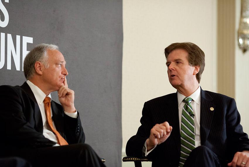 State Senators Kirk Watson (D-Austin), l, and Dan Patrick (R-Houston), r, discuss the priorities of the upcoming Texas legis…