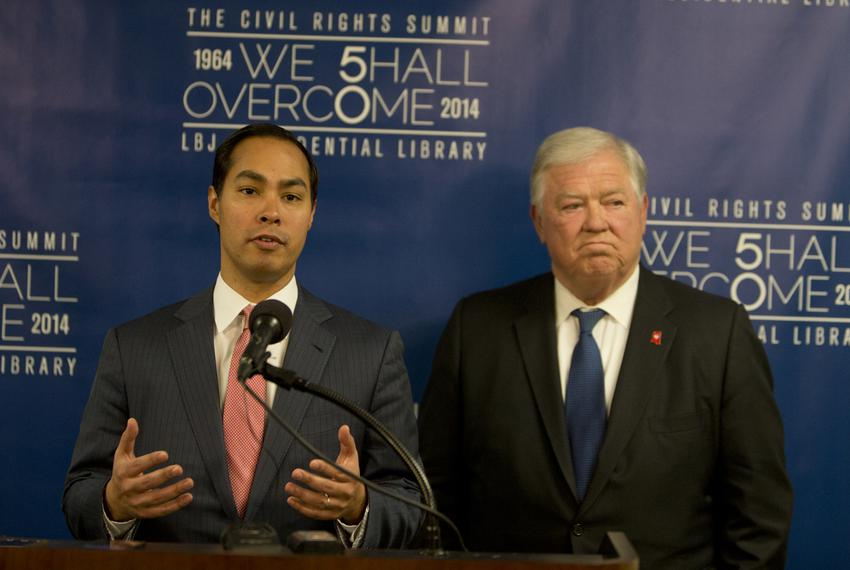 Mayor Julian Castro and former Governor of Mississippi Haley Barbour, speak to media during the Civil Rights Summit on Apr...