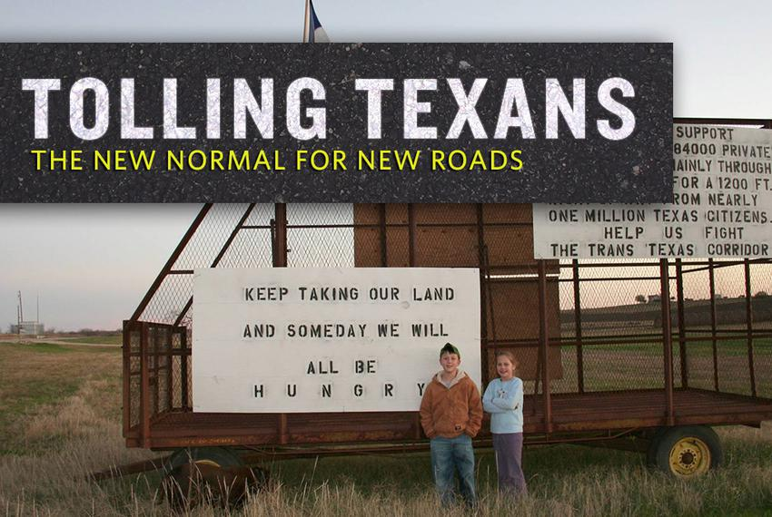 Caleb Ging and Libby Fischer stand near the Ging family's home in Coupland in front of signs protesting the Trans-Texas Corr…