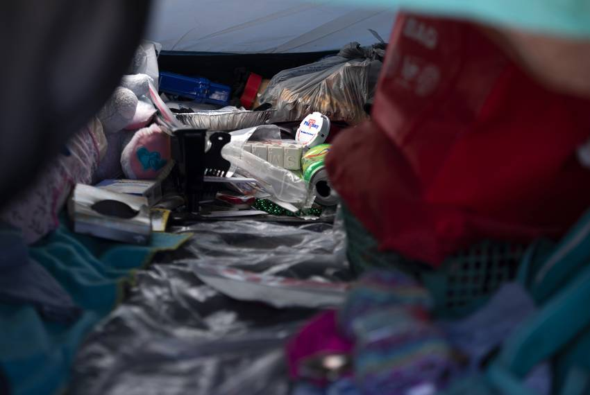 Pill bottles inside of Susan Peakes tent at the state-run homeless encampment off of U.S. Highway 183 on Feb. 25, 2020.