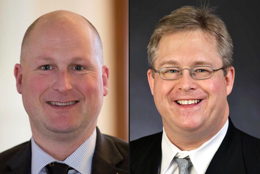 Incumbent Tony Tinderholt (l.) and opponent Andrew Piel are vying for the HD 94 seat in Arlington in the March 1 GOP primary…