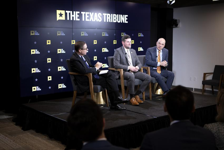 From left: Tribune CEO Evan Smith is joined by state Sen. Brandon Creighton, R-Conroe, and state Rep. Chris Turner, D-Grand …