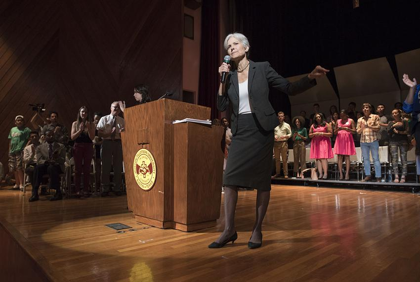 Green Party presidential candidate Jill Stein at a campaign appearance at Huston-Tillotson University on October 17, 2016.