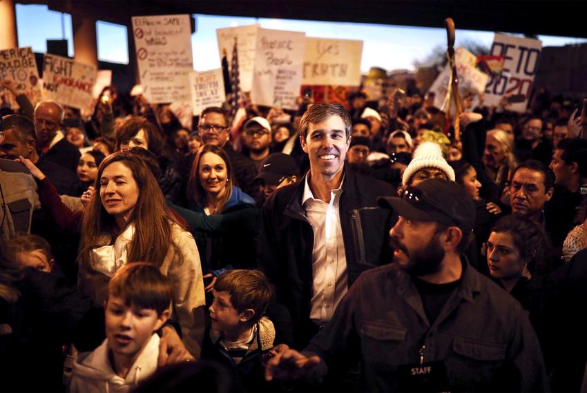 Former U.S. Rep. and possible presidential candidate Beto O'Rourke joins a march to a rally in response to President Donal...