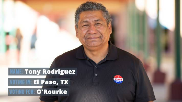 "Tony Rodriguez, 58, voted for O'Rourke. ""Naturally, [Beto's] from El Paso, so usually El Pasoans stick together,"" Rodriguez said. ""I travel all over the U.S. and I see how divided the country has gotten ... I feel more that Beto can get Texas united."""