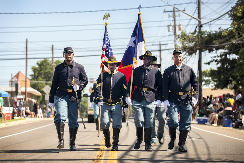The Texas Buffalo Soldiers lead the annual Juneteenth parade in East Austin on June 19, 2021. Juneteenth commemorates Union …