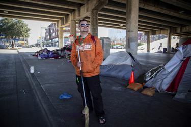 Clayton Trew underneath the Interstate 35 overpass in Austin on Jan. 15, 2021.
