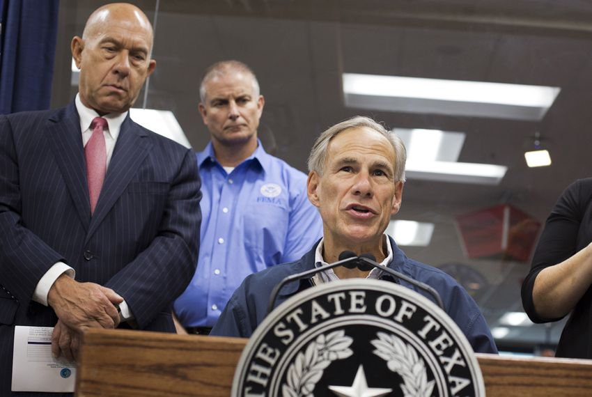 Gov. Greg Abbott gives a briefing to the media regarding Hurricane Harvey at the DPS command center in Austin, Texas, on August 25, 2017.