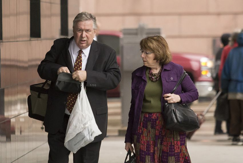 Former U.S. Rep. Steve Stockman, R-Friendswood, arrives at the United States District Courthouse in Houston on Monday, April 9, 2018 for closing arguments in his federal corruption trial.