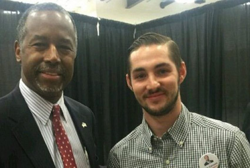 Republican presidential candidate Ben Carson (l.) and Carson campaign volunteer Braden Joplin, a 25-year-old student at Texas Tech University who was killed in a wreck on icy Iowa roads on Jan. 19, 2016.