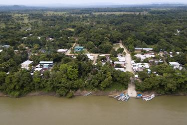 Boats are docked on the banks of the Usumacinta River in La Tecnica, Guatemala. Nov. 17, 2019.