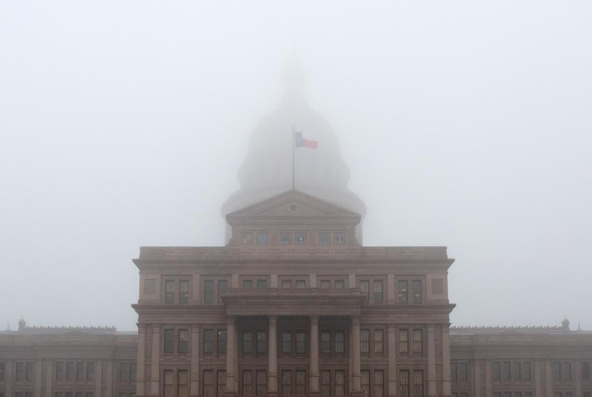Dense fog blankets the dome of the Texas State Capitol. March 12, 2019.