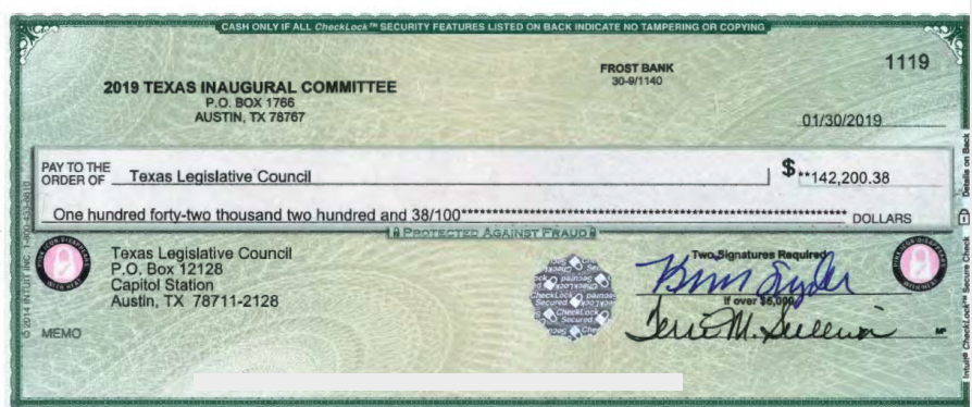 "This check from from the Texas Inaugural Committee was obtained under transparency laws from the Texas Legislative Council. An invoice says the check paid for stage setup, labor, printing, supplies and a ""Capital Extension Load Test Review."""