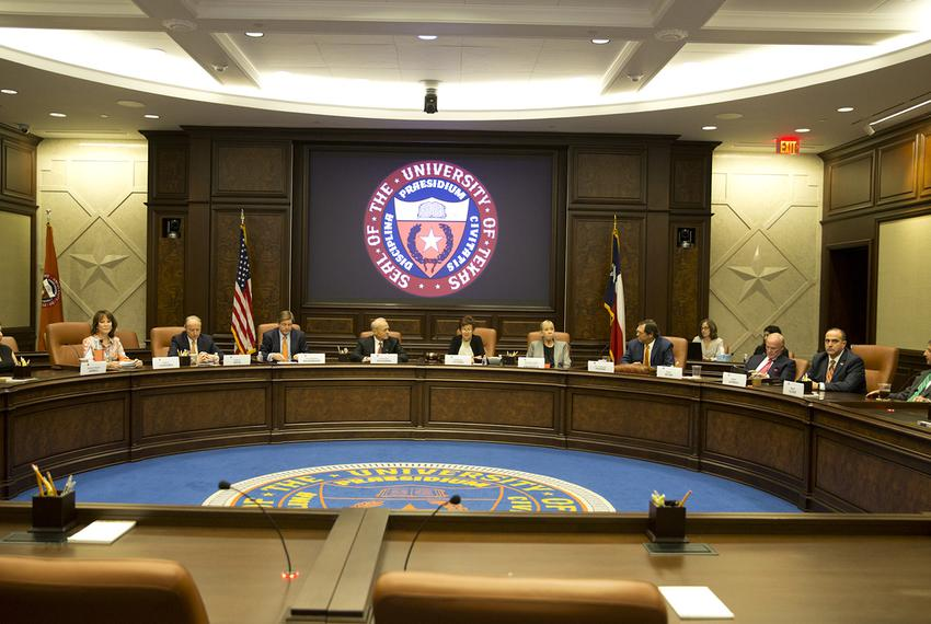 The University of Texas System Board of Regents sits for a special meeting Aug. 4, 2018, in Austin. During the meeting, re...