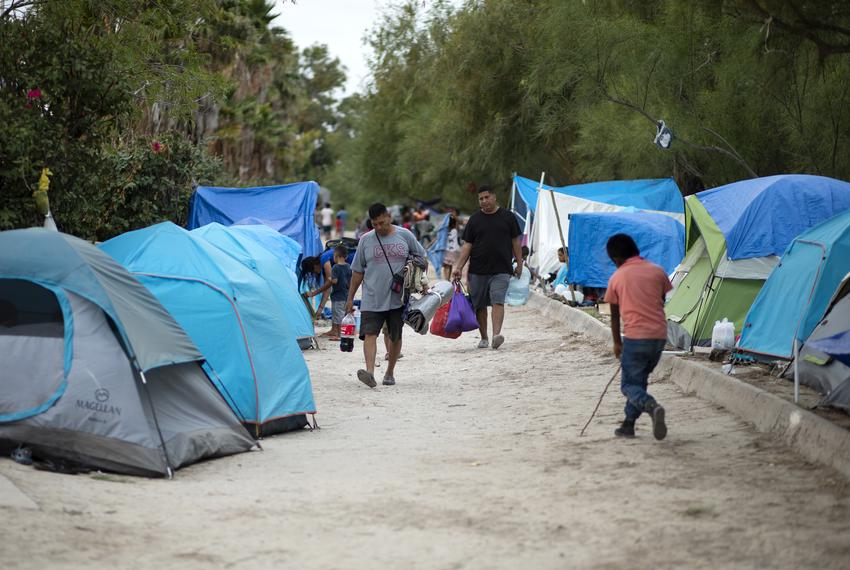 Migrant tents near the Gateway International Bridge in Matamoros, Tamaulipas on Oct. 16, 2019.