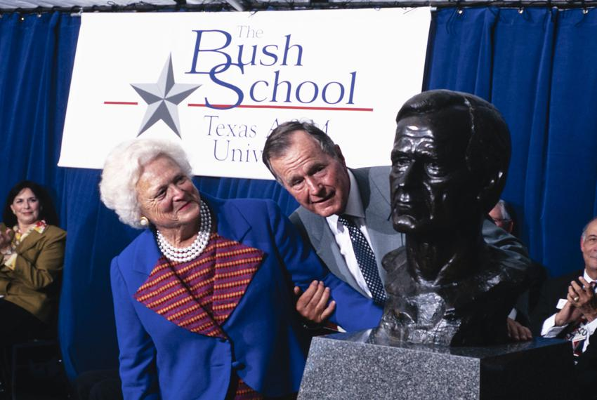 Former President George H.W. Bush and his wife Barbara at the dedication of the Bush School in College Station in 1997.