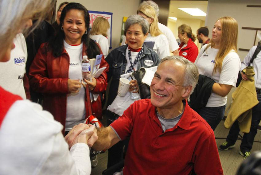 Attorney General Greg Abbott spoke to supporters in Austin on Nov. 9, 2013, after officially filing for the 2014 gubernatori…