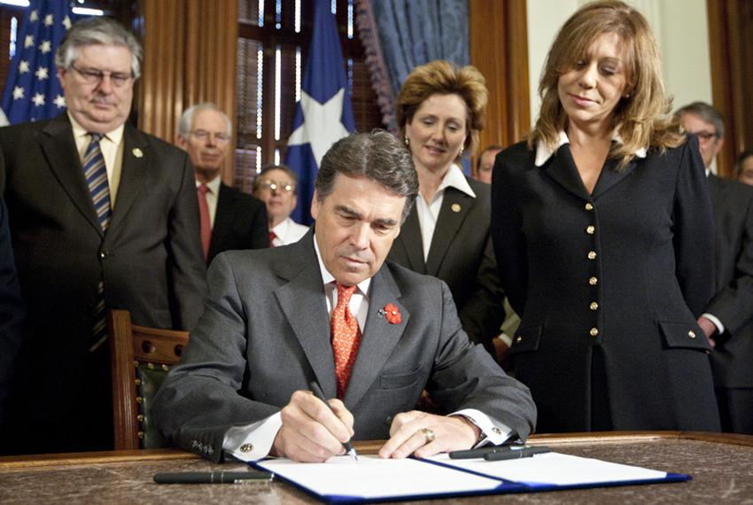 Gov. Rick Perry ceremonially signed HB 274, which brings lawsuit reforms to Texas courts, including a loser pay system for f…