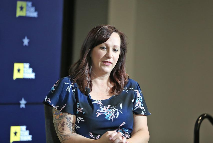 MJ Hegar listens to an audience question at a Texas Tribune event on Sept. 13, 2018. Hegar is the Democratic nominee for U...