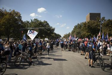 Supporters of President Trump gathered at the State Capitol in Austin to protest the victory of Presidential-elect Joe Biden. The two groups began arguing and yelling at each other in front of the captiol. Nov. 7, 2020.