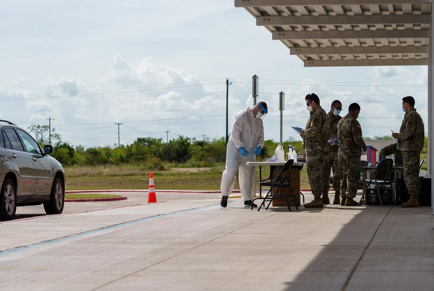 Army National guard members at a mobile  COVID-19 testing site at Uhland Elementary School in Uhland on June 18, 2020.