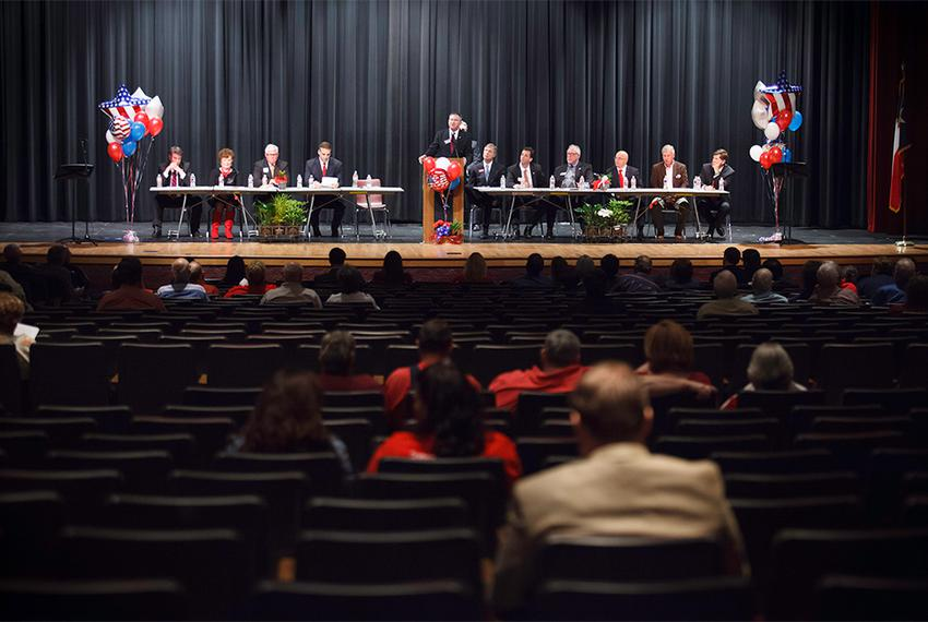 Most of the 12 candidates for CD-36 seated on stage during a Republican candidates forum sponsored by the Hardin County Repu…