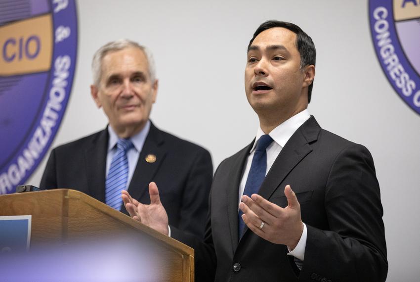 U.S. Congressman Joaquin Castro and U.S. Congressman Lloyd Doggett speak at a press conference addressing the attempted vote…