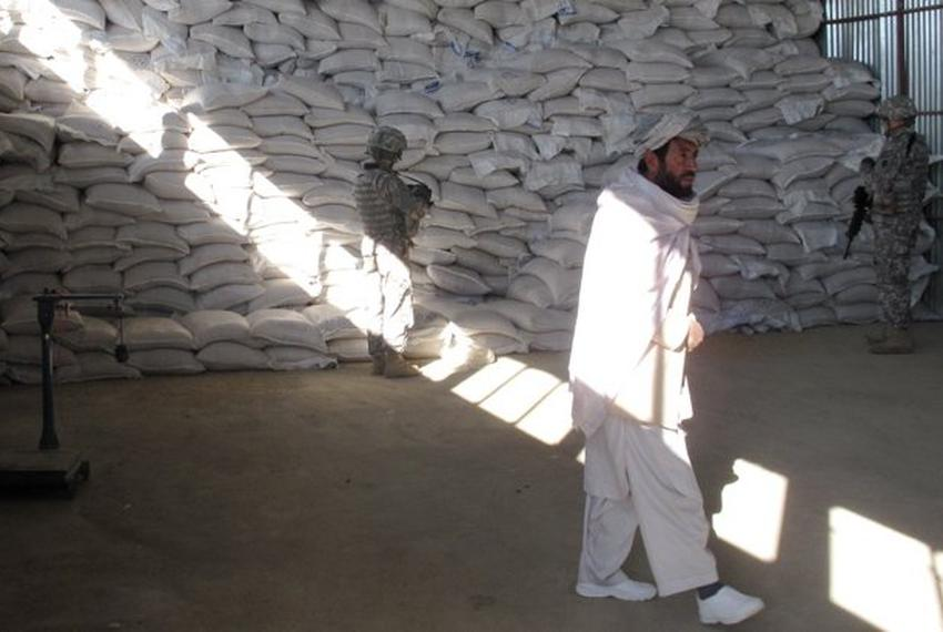 The ADT assists on agricultural development projects in Ghazni such as this warehouse. Here the contractor and a supervisor …