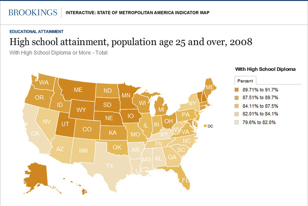 Why Does Texas Rank Last In High School Diplomas The Texas Tribune - Us map by college attainment