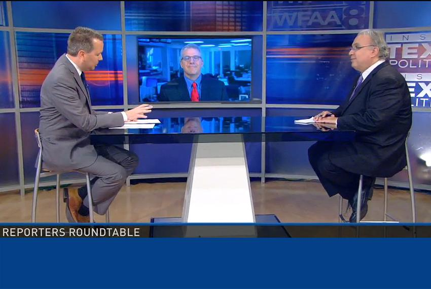 (L-R) Host Jason Whitely, Tribune Executive Editor Ross Ramsey and the Fort Worth Star-Telegram's Bud Kennedy on WFAA-TV's...