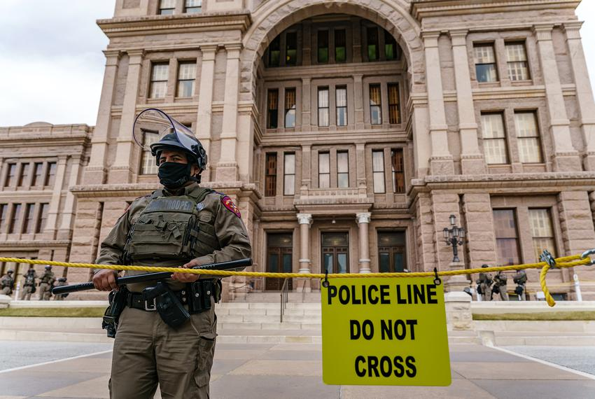 Security at the Texas Capitol was increased up after violence at the U.S. Capitol in Washington D.C. last week. Jan 12, 2021.