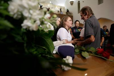 Antonio Basco was overwhelmed with the support of the El Paso community at his wife Margie Reckard's funeral at La Paz Faith Center in El Paso, Texas Friday, August, 16, 2019. Without much family and friends in town, Basco invited the public to his wife's funeral and El Paso showed up in droves. His wife was one of the 22 killed in the Walmart mass shooting on August 3, 2019.