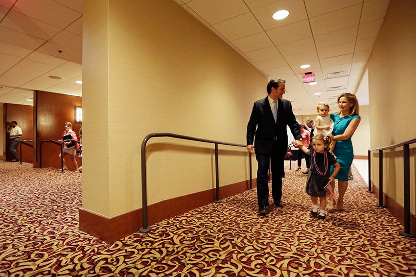 Texas Republican candidate for US Senate, Ted Cruz, with daughter with his family, Tuesday, May 29, 2012 at the JW Marriott hotel in Houston, Texas.